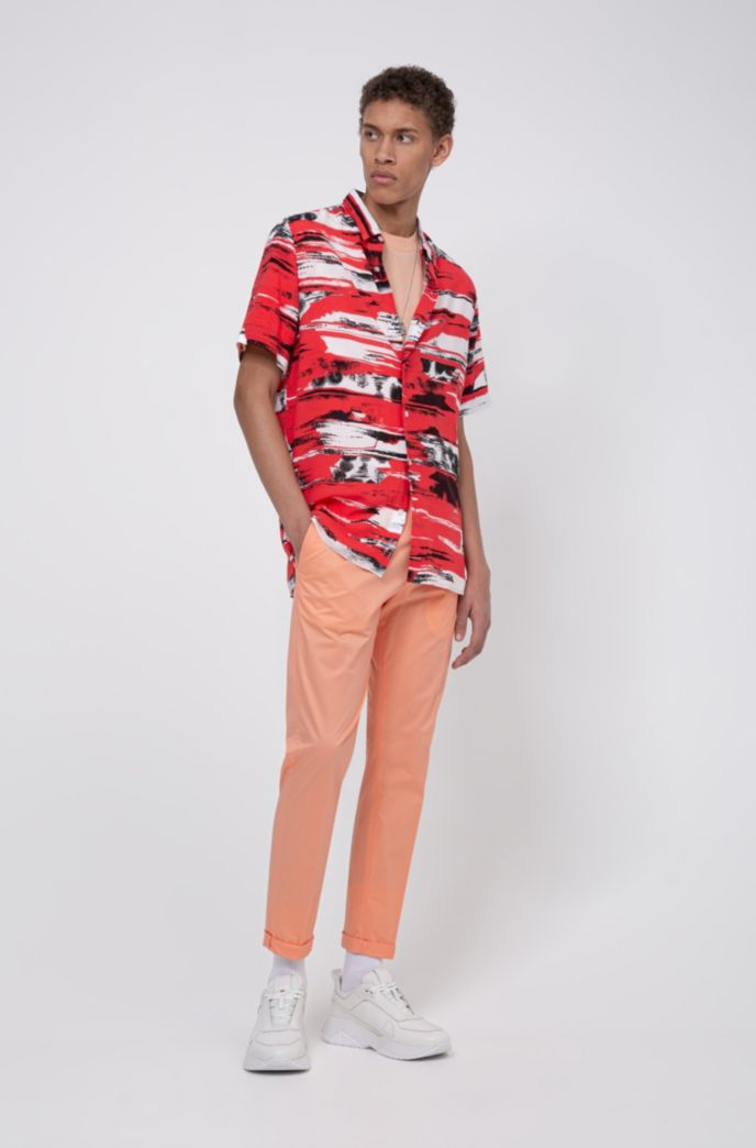 Relaxed-fit shirt in printed canvas with short sleeves