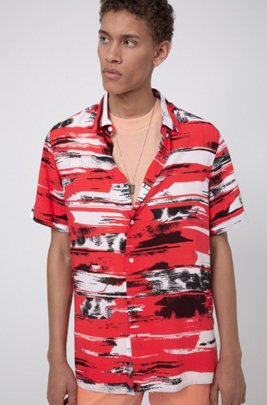 Relaxed-fit shirt in printed canvas with short sleeves, light pink