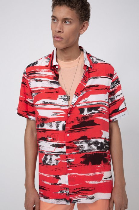 Relaxed-fit shirt in printed canvas with short sleeves, Open Pink
