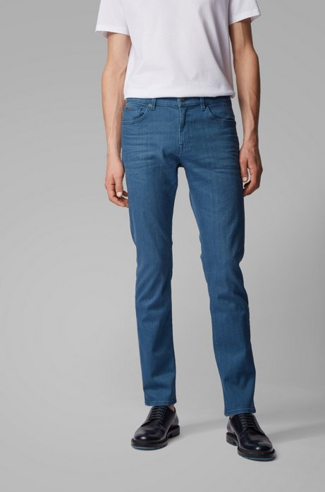 Slim-fit jeans in mid-blue stretch denim, Blue
