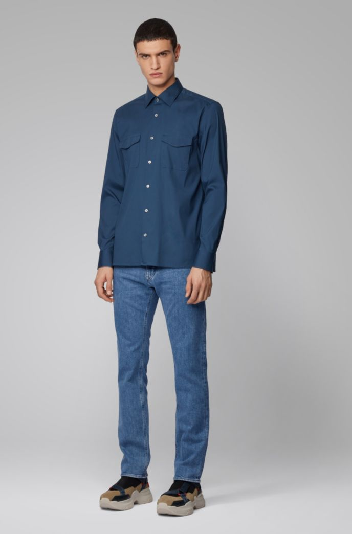 Regular-fit jeans in mid-blue Italian stretch denim