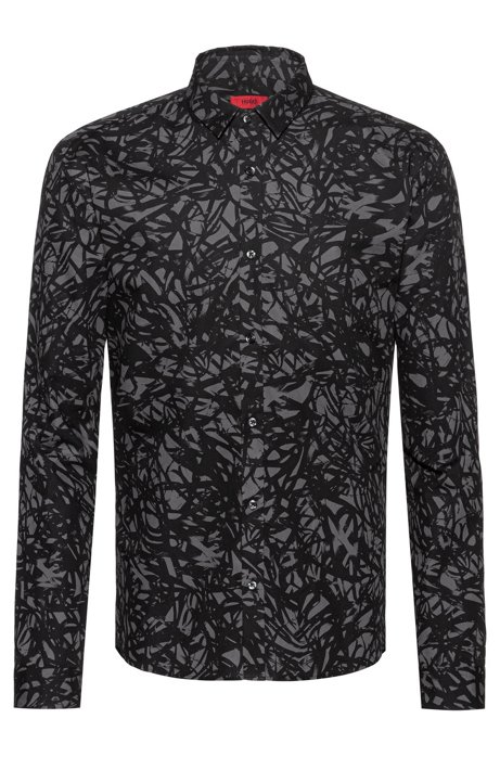Extra-slim-fit cotton shirt with cassette-tape-inspired print, Black