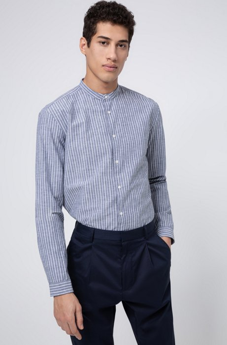 Relaxed-fit striped shirt in a melange cotton blend, Dark Blue
