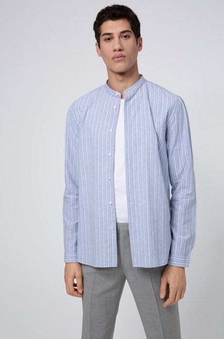 Relaxed-fit striped shirt in a melange cotton blend, Light Blue