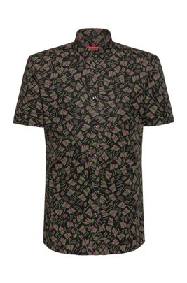 Short-sleeved extra-slim-fit shirt in printed cotton, Khaki