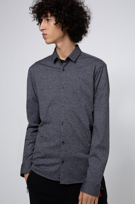 Extra-slim-fit shirt in textured cotton jersey, Black