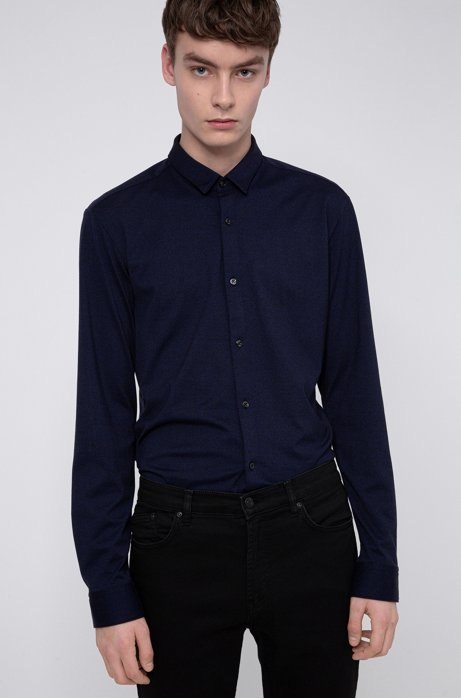 Extra-slim-fit shirt in textured cotton jersey, Dark Blue