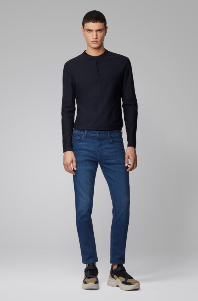 Extra-slim-fit jeans in dark-blue Italian denim