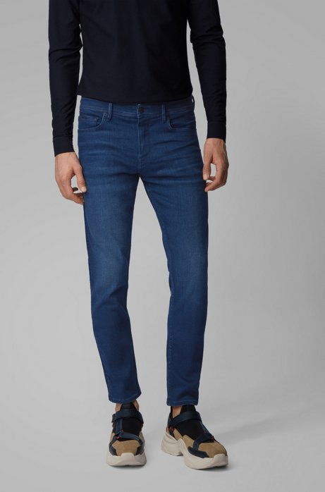 Extra-slim-fit jeans in dark-blue Italian denim, Dark Blue
