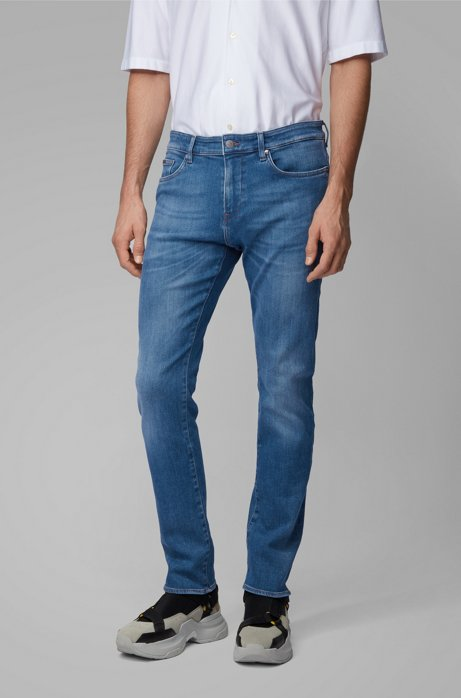 Slim-fit jeans in mid-blue denim, Blue