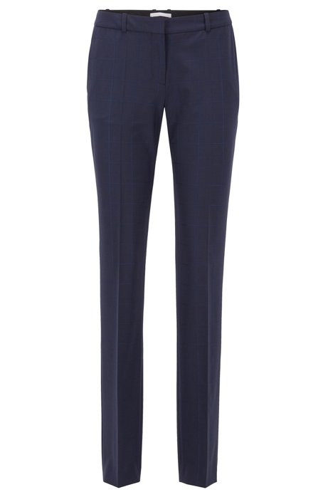 Regular-fit pants in an oversized-check virgin-wool blend, Patterned