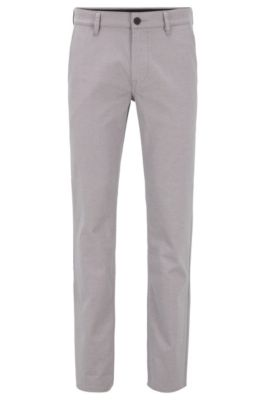 Slim-fit pants in two-tone stretch cotton, Light Beige