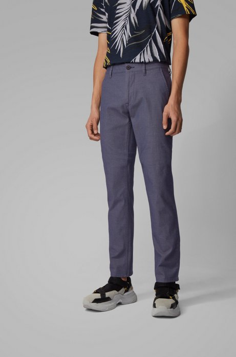 Slim-fit pants in two-tone stretch cotton, Dark Blue