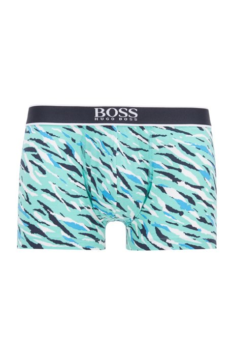 Stretch-cotton trunks with all-over print, Turquoise
