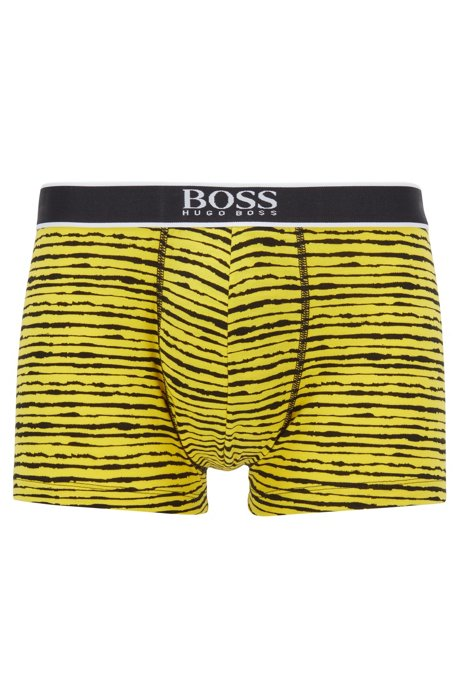 Stretch-cotton trunks with all-over print, Yellow