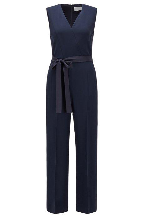 V-neck jumpsuit in Italian-made satin-back crepe, Open Blue
