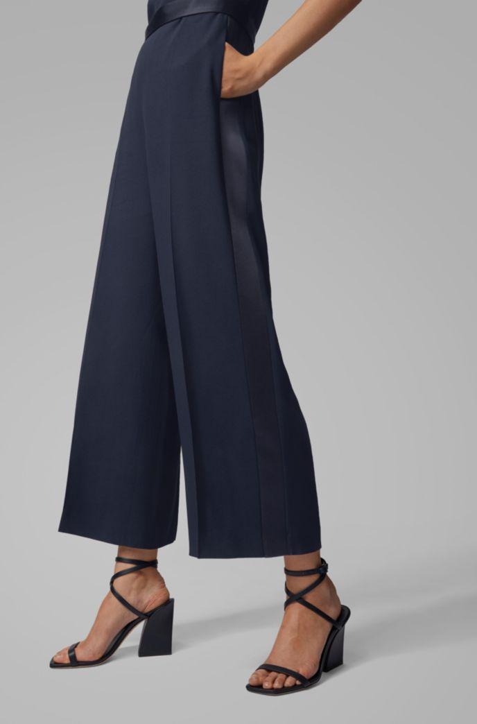 V-neck jumpsuit in Italian-made satin-back crepe
