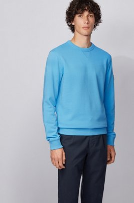 Relaxed-fit sweatshirt in cotton terry with sleeve logo, Turquoise