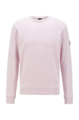 Relaxed-fit sweatshirt in cotton terry with sleeve logo, Dark pink