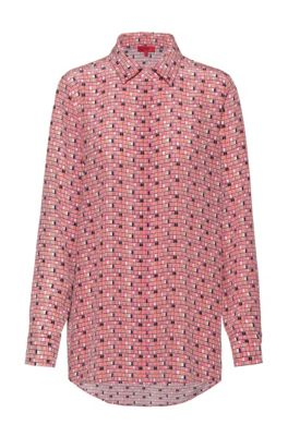 Washed-silk blouse with window-inspired print, Patterned