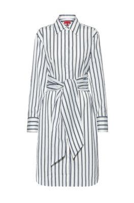 Striped shirt dress with tie-up belt, Open Blue