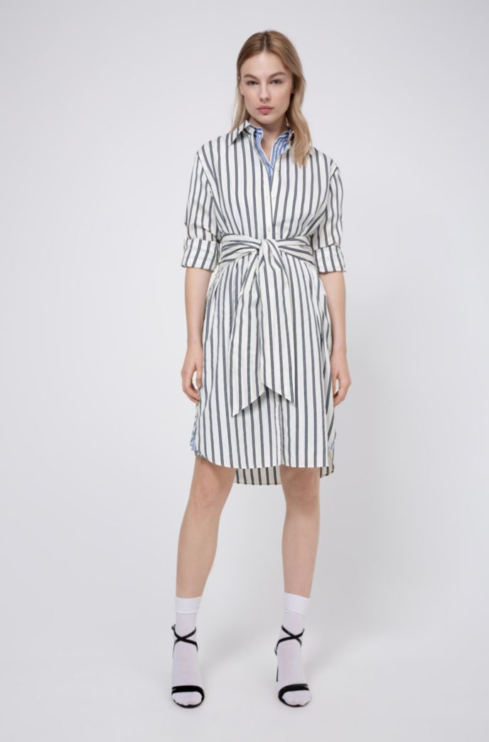 Striped shirt dress with tie-up belt