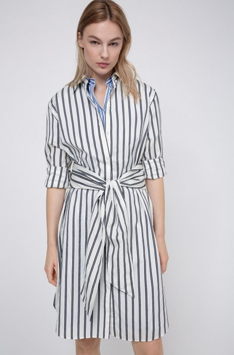 Striped shirt dress with tie-up belt, Open Blue