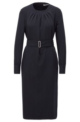 Long-sleeve pinstripe dress with pintuck neckline, Patterned