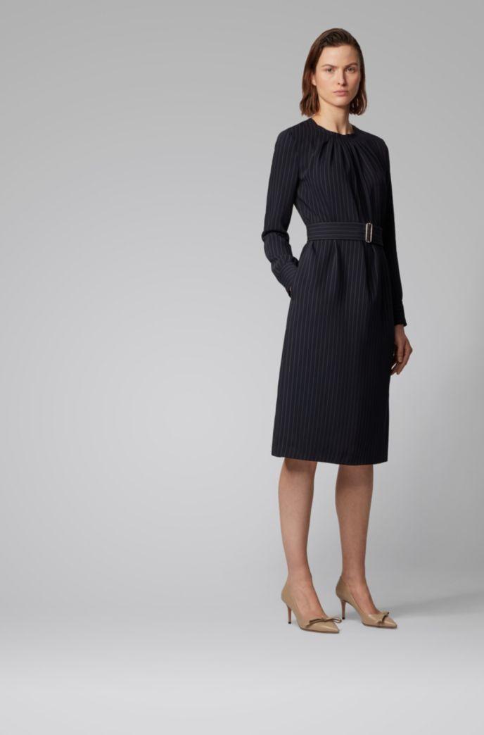 Long-sleeve pinstripe dress with pintuck neckline