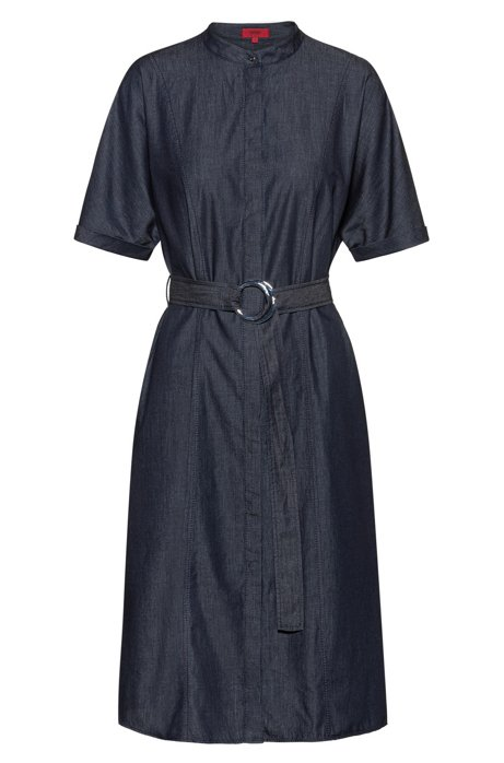 Stand-collar shirt dress in Italian denim, Open Blue