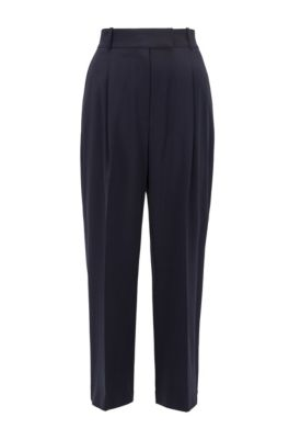 Relaxed-fit cropped pants in traceable wool with stretch, Open Blue