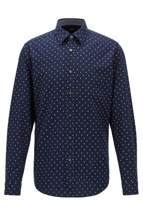 Regular-fit shirt in graphic-print structured cotton, Dark Blue