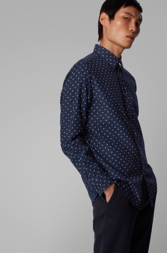 Regular-fit shirt in graphic-print structured cotton