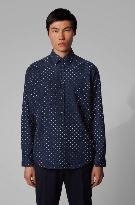Regular-fit shirt in graphic-print structured cotton, Dark Blue