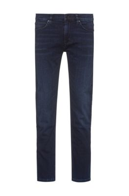 Slim-fit jeans in knitted denim with reverse logo , Dark Blue