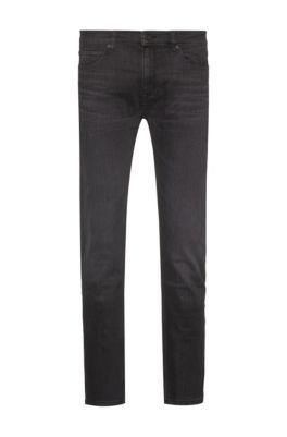 Slim-fit jeans in black stretch denim, Dark Grey