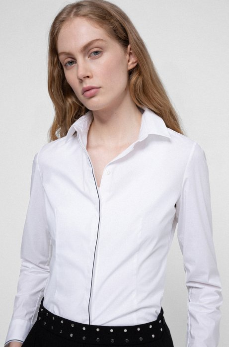 Slim-fit blouse in stretch cotton with piping details, White