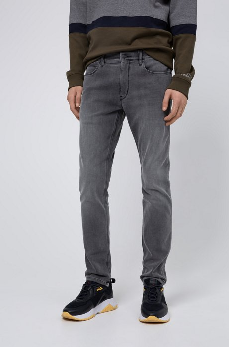 Skinny-fit jeans in gray jersey denim, Grey