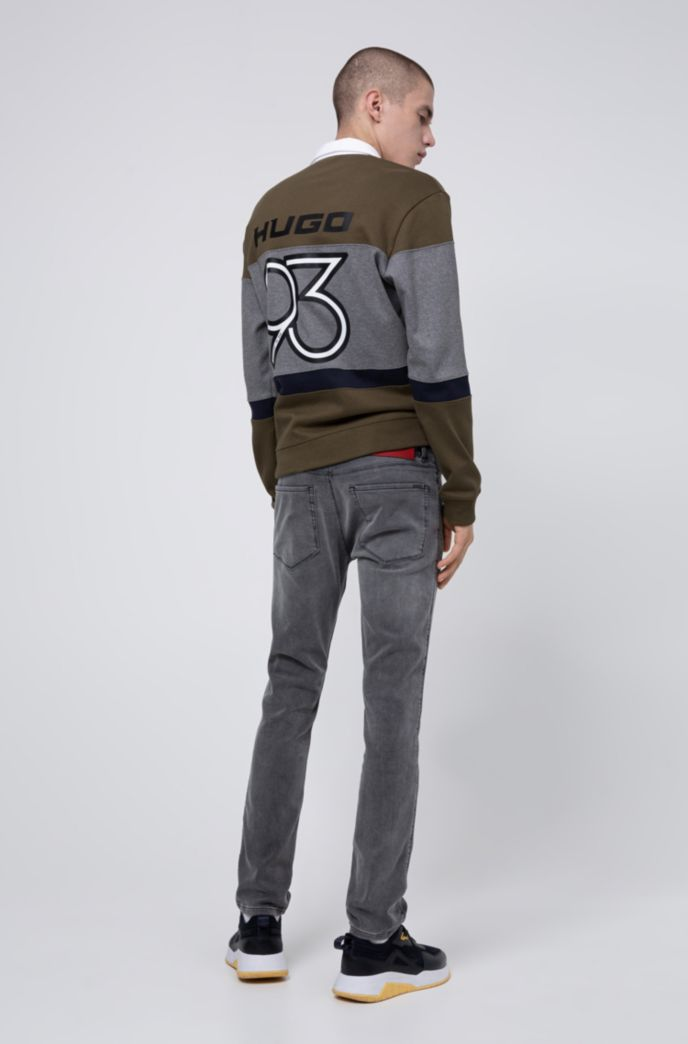 Skinny-fit jeans in gray jersey denim