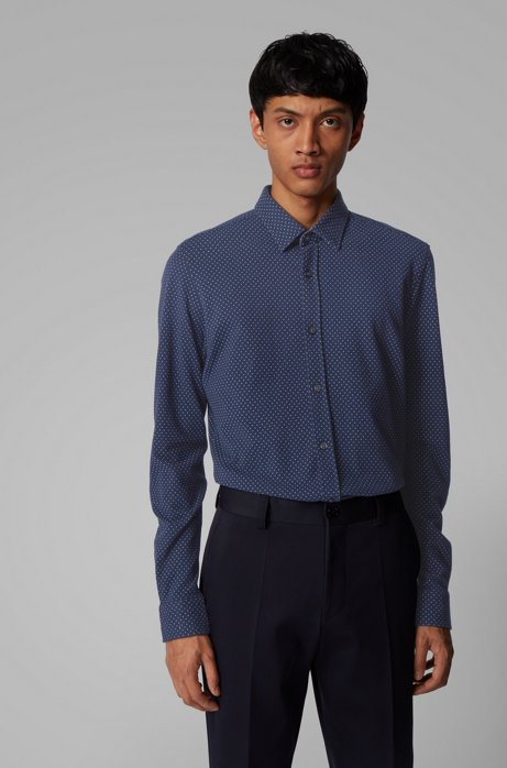 Printed slim-fit shirt in jersey pique, Dark Blue