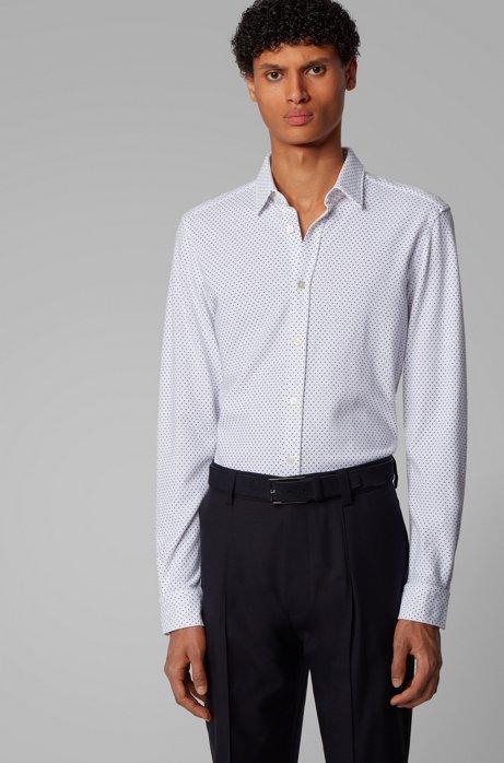 Printed slim-fit shirt in jersey pique, Dark Blue
