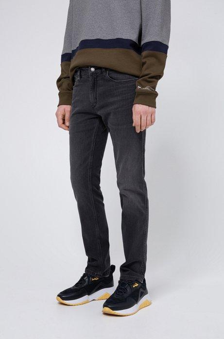 Slim-fit jeans in dark-grey lasered stretch denim, Charcoal
