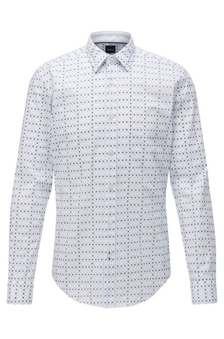 Slim-fit shirt in geometric-floral-print cotton poplin, Light Blue