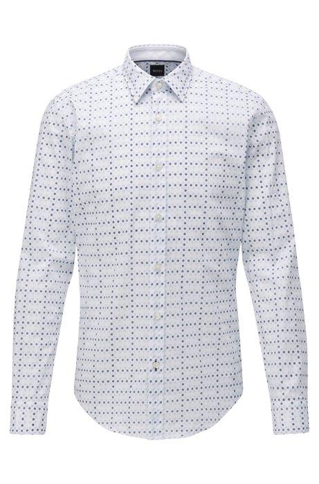 Slim-fit shirt in geometric-floral-print cotton poplin, Light Blue