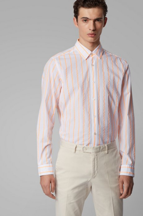 Regular-fit shirt in cotton with fluoro stripes, Orange
