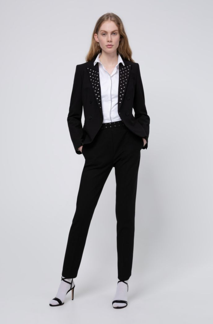 Regular-fit pants with stud-detail waistband