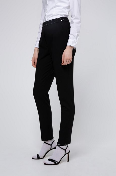 Regular-fit pants with stud-detail waistband, Black