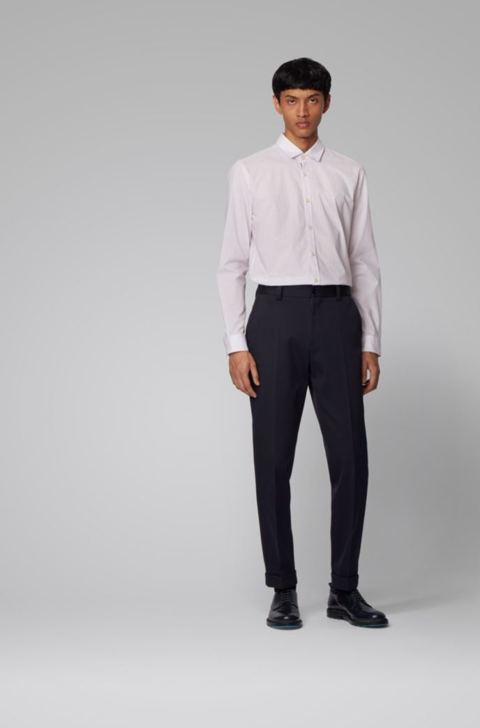 Slim-fit shirt in micro-patterned cotton