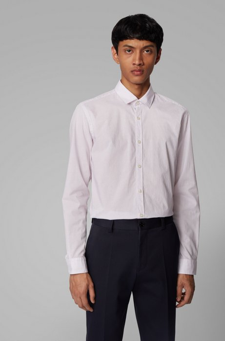 Slim-fit shirt in micro-patterned cotton, Red