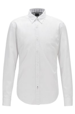 Button-down slim-fit shirt in dobby cotton, Natural